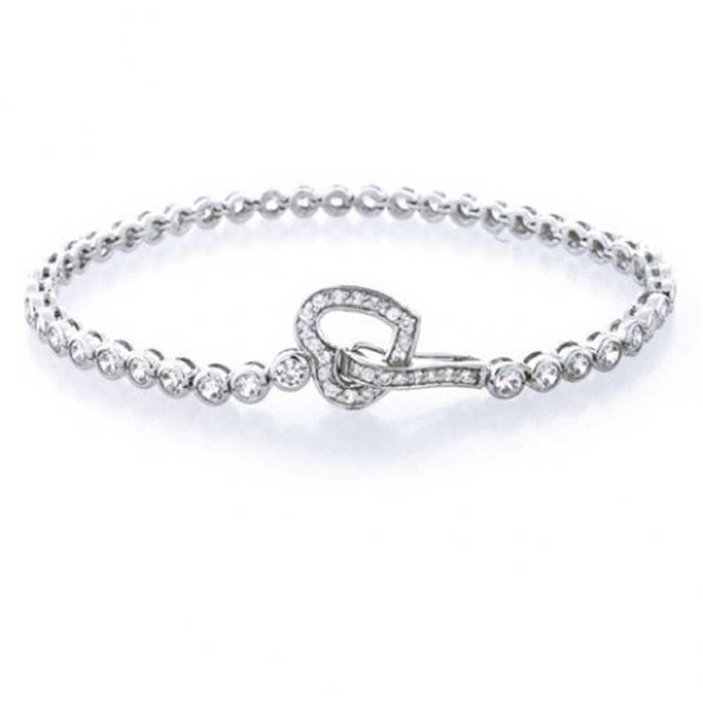 bling jewelry round cz open heart link tennis bracelet 7.5 inch 925 silver frdewcp