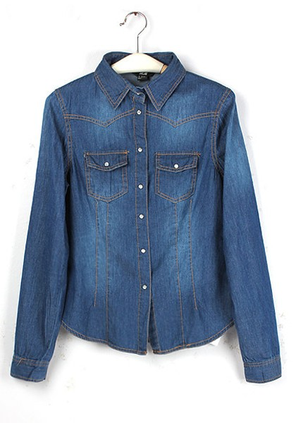 blue buttons lapel long sleeve wrap denim blouse geabyuq