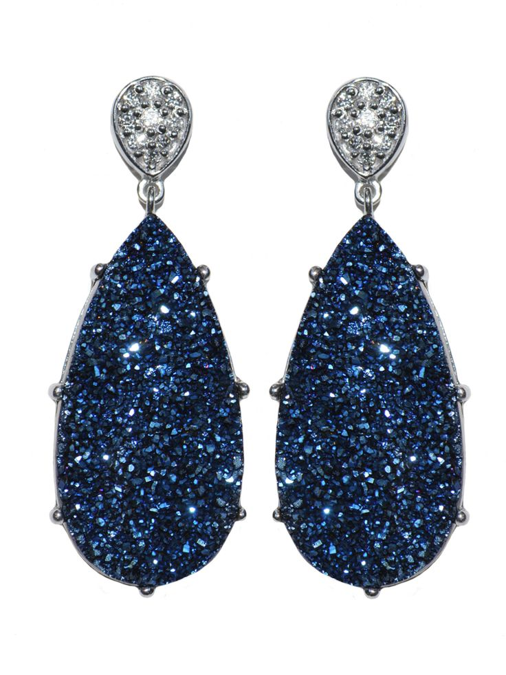 blue earrings anzie - classique pave pear earrings - blue drusy EBMQTVS