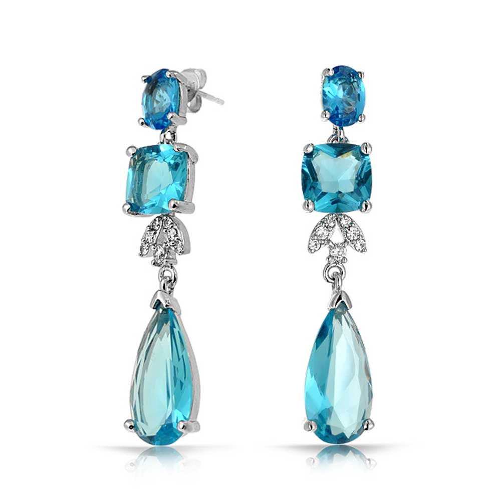 blue earrings bling jewelry blue topaz color cz square teardrop cz bridal chandelier  earrings GCNZXDT