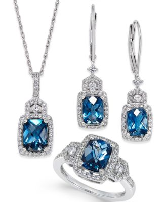 blue topaz earrings london blue topaz (4-3/5 ct. t.w.) and white topaz DONIVUW