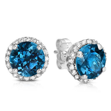 blue topaz earrings round-cut london blue topaz stud earrings with diamonds in 14k white gold CSAUTST