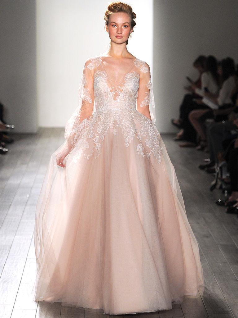 blush wedding dress long sleeved blush pink hayley paige wedding gown stntqlt