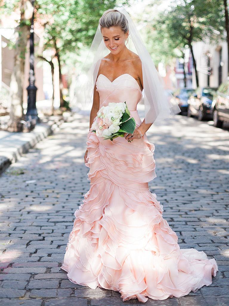 blush wedding dress strapless blush pink wedding gown by leanne marshall molppqd