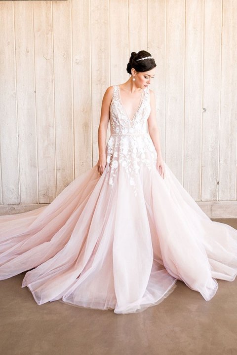 blush wedding dress stunning modern ball gown in blush with floral embroidery jzlvnsj