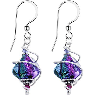body candy handcrafted 925 silver purple dichroic drop dangle earrings  created with swarovski crystals dwopsar
