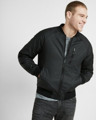 bomber jacket men waxy cotton ma-1 bomber jacket | express rgadvxs