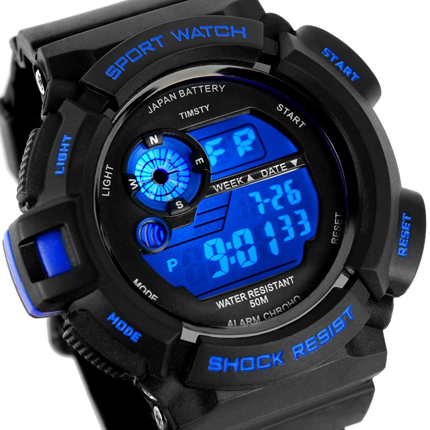boys watches amazon.com: timsty electronic sports watch with led backlight,water  resistant quartz digital watches: watches MFYVNCL