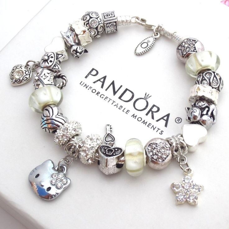 bracelet charms authentic pandora silver bracelet with charms white hello kitty heart love  new YJRCVPP