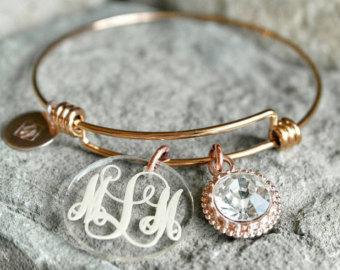 bracelet charms monogrammed bracelet - custom charm bracelet - bridesmaid gift - bridesmaid  bracelet - monogram TLLOOTH