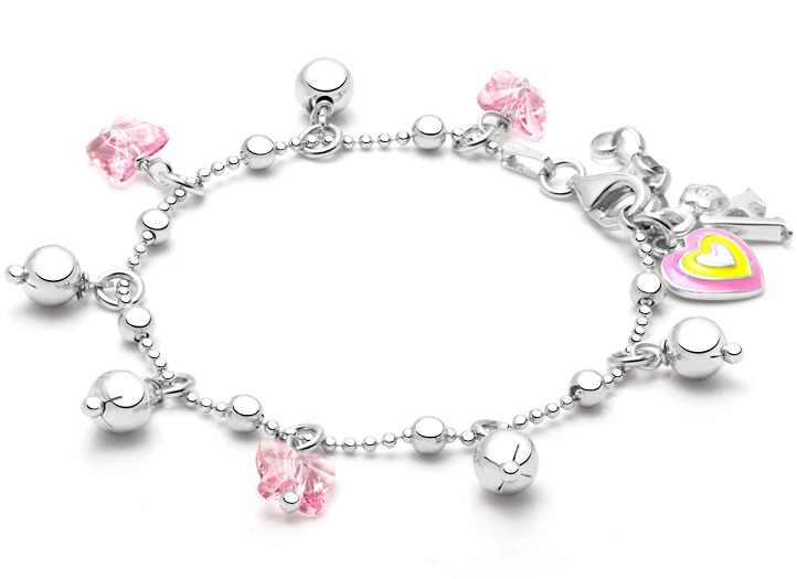 bracelet charms pink crystal butterfly drops charm bracelet for girls JLMJPLG