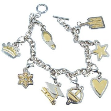 bracelet charms young women two-tone charm bracelet YJCZQVN