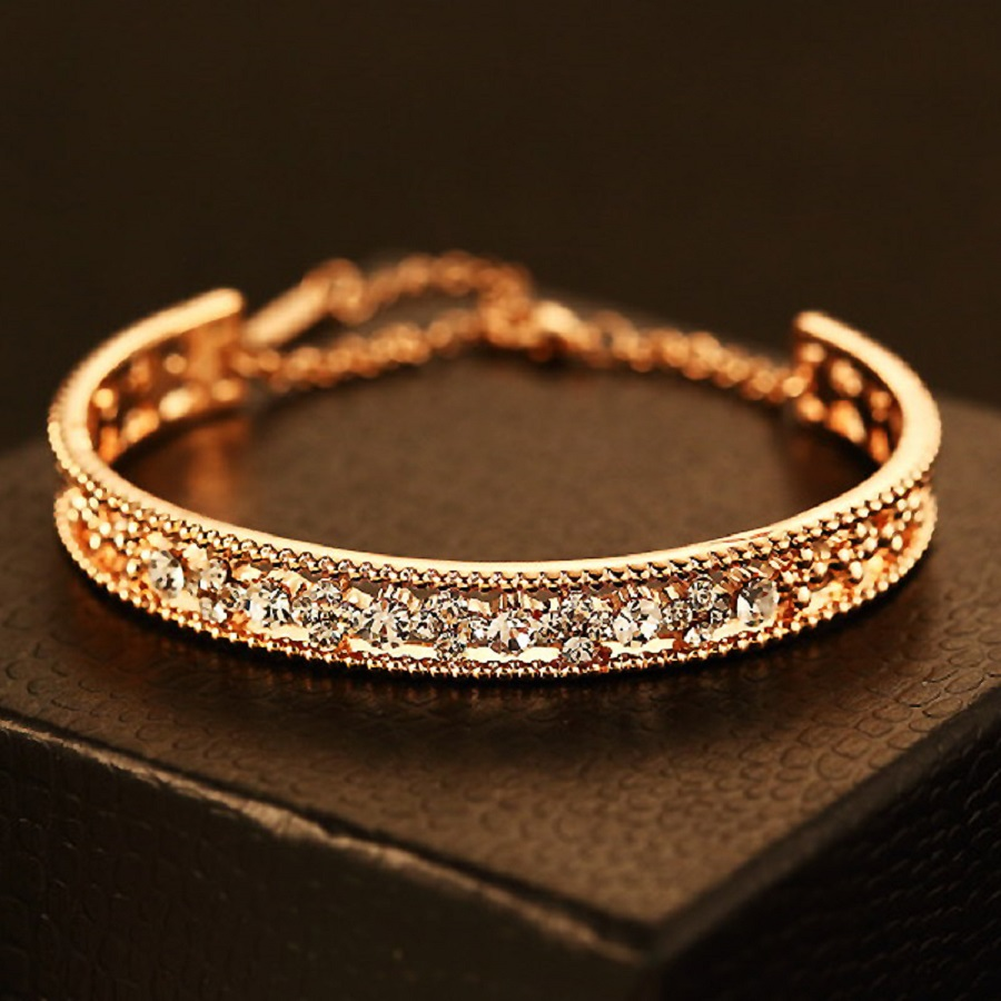 women crystal colors zircon ladies item plated bamoer aaa cubic luxury chain rose for bracelets link shining gold jewellery color bracelet