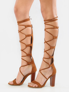 braided lace up gladiator heels chestnut kyybvnb