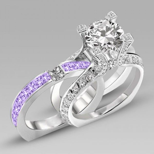 Bridal Rings Brilliant Cut Lilac Amethyst Two In One Rhodium Plating  Sterling Silver Engagement