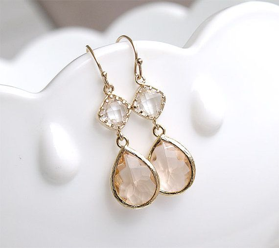 bridesmaid jewelry champagne earrings in gold - bridesmaid earrings - blush earrings - peach  earrings - gzbkein