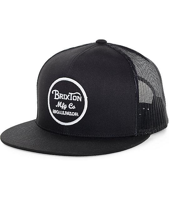 brixton wheeler black trucker hat rhtfclu