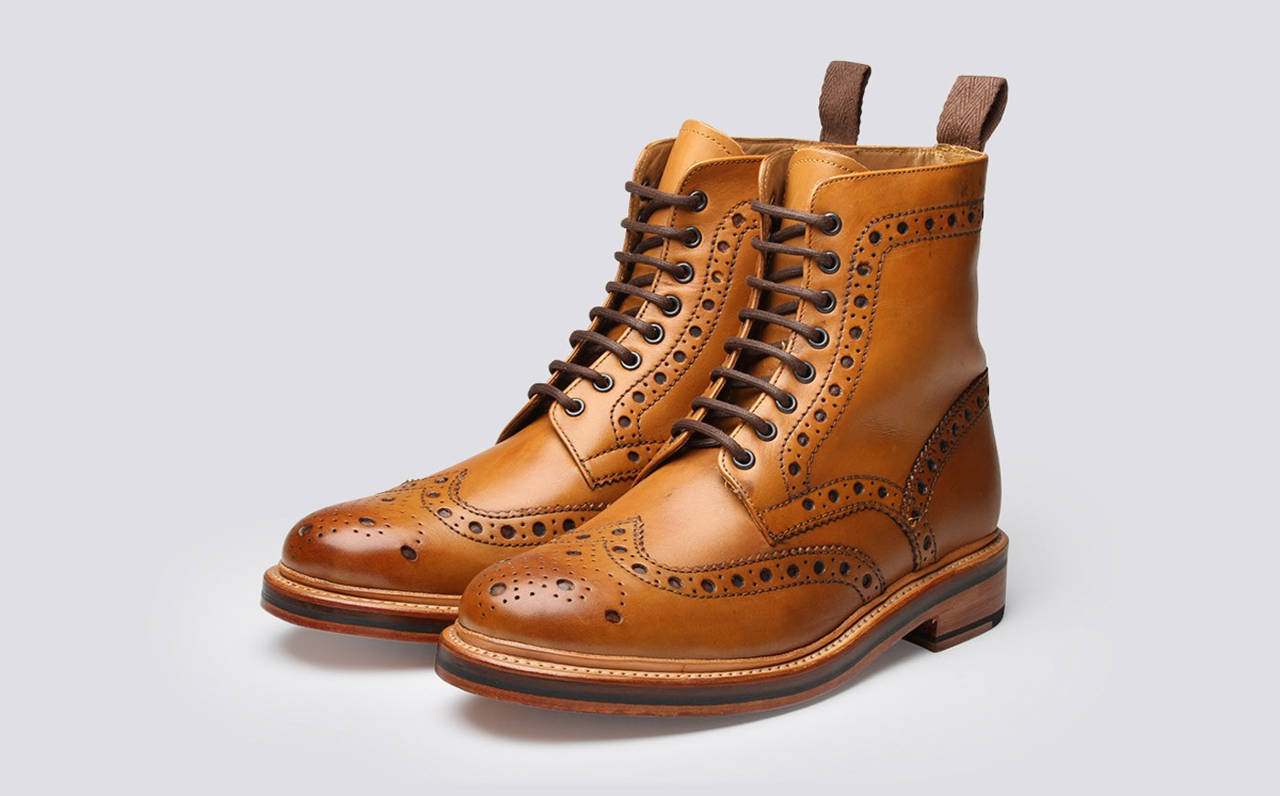brogue boots mens brogue boot in tan calf leather with a leather sole | fred | grenson ggyhqwb