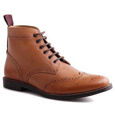 brogue boots unze mens leather u0027tayloru0027 lace up brogue ankle boots ... zbppjwu