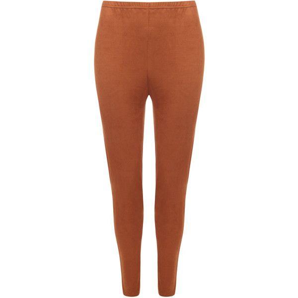brown leggings danika suede look leggings ($26) ❤ liked on polyvore featuring pants,  leggings, qwiocev