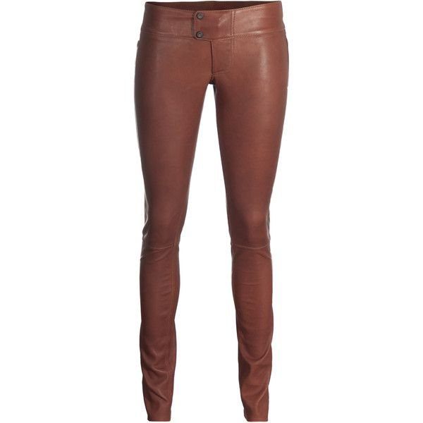 brown leggings sly 010 fit tight brown leather leggings ($430) ❤ liked on polyvore  featuring pants ockxwti