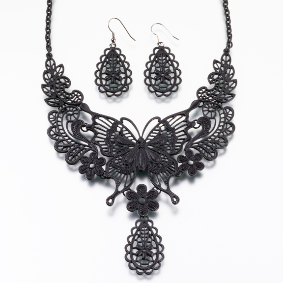 butterfly black necklace and earrings set YPUXXBA