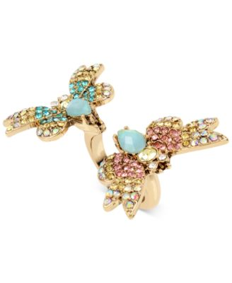 butterfly jewelry betsey johnson gold-tone multi-crystal butterfly ring yuxldct