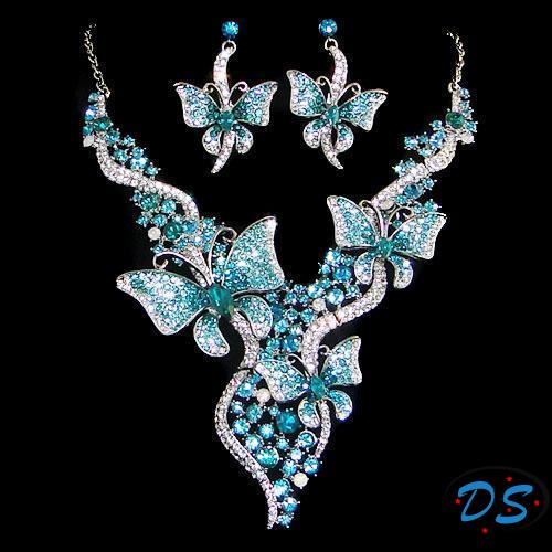 butterfly jewelry butterfly necklace earrings set blue crystal insect jewelry set gpolrih