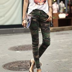 camouflage pants for women vintage camouflage pockets design narrow feet pants for women (camo,l) |  vintage pkczguy