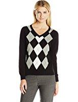 caribbean joe womenu0027s v-neck cotton pullover argyle sweater srfagib