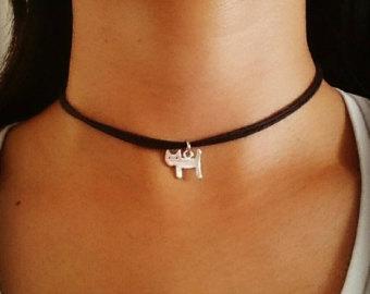 cat choker, cat necklace, cat jewelry, cat jewellery, cat lover gift, cjedwjx