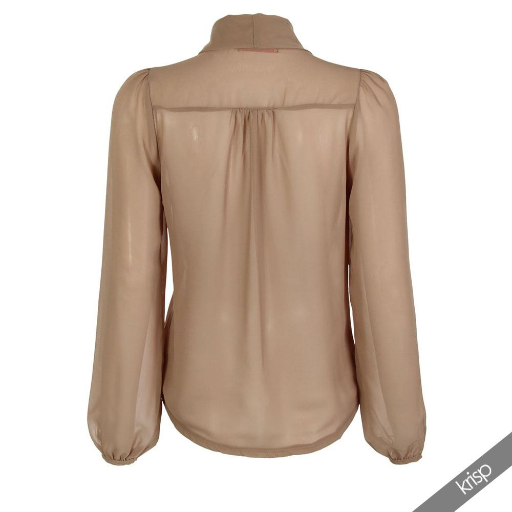 chiffon blouse krisp-womens-see-through-chiffon-blouse-ladies-tie- iueetzt