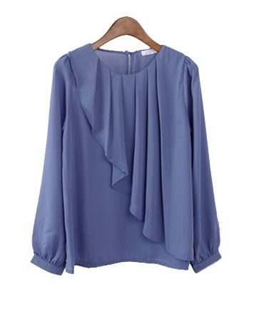 chiffon blouse with pleat front details jmvximf