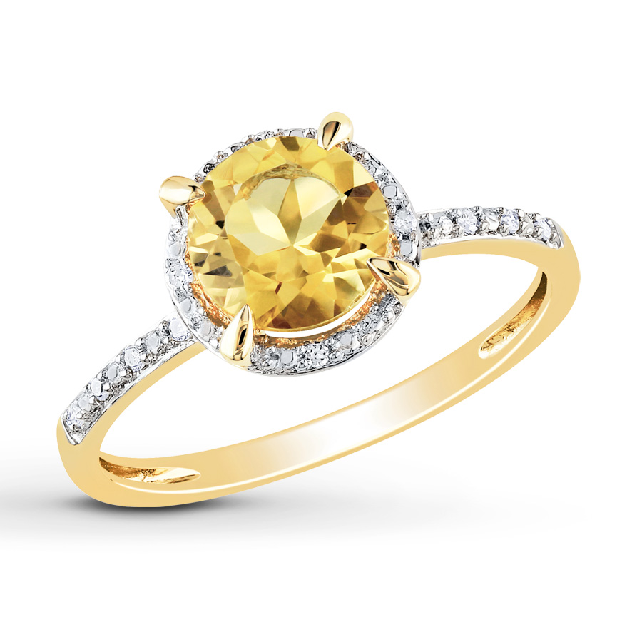 citrine rings round citrine ring 1/20 ct tw diamonds 10k yellow gold gqkurlx