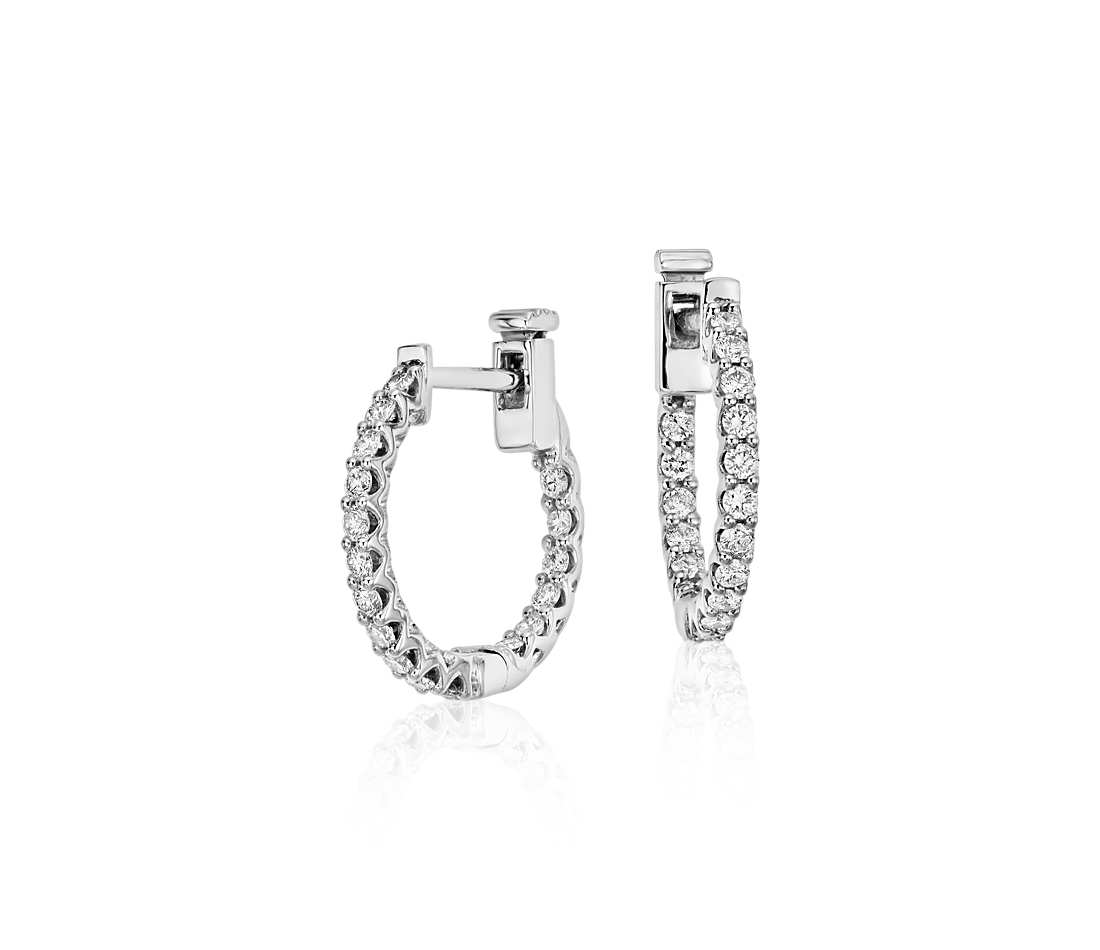 classic diamond hoop earrings in 18k white gold (1/2 ct. tw. ntcbmfq