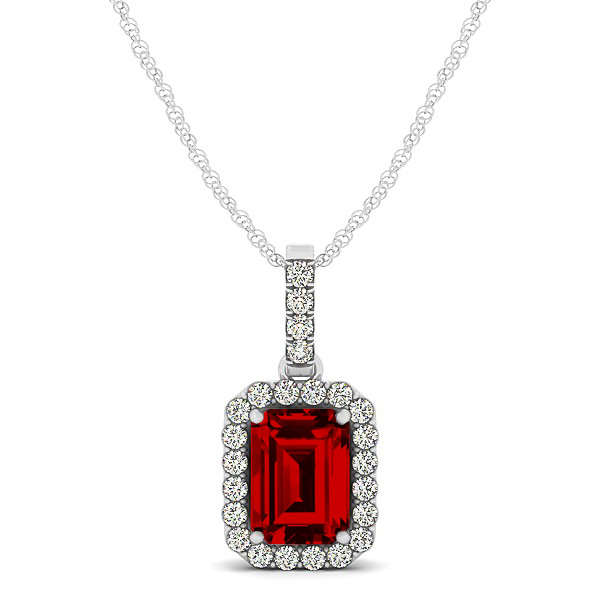 classic emerald cut ruby necklace with halo pendant zgbghin