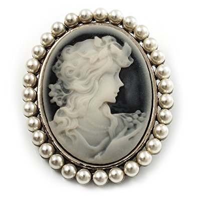 classic simulated pearl cameo brooch (silver tone) yedfwxx