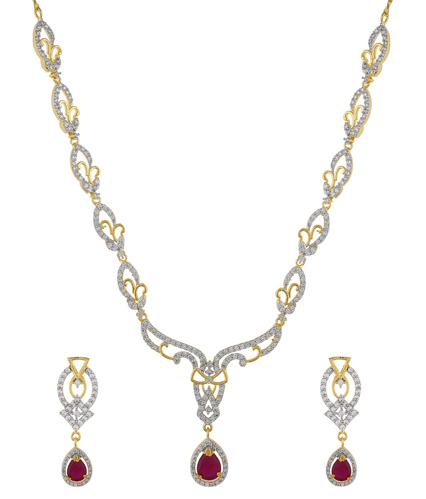 classique designer jewellery golden alloy necklace set ... tnsfkbk