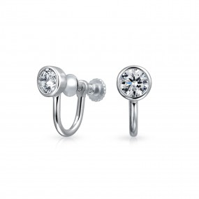 clip earrings bling jewelry 925 silver cz bezel round screw back clip on earrings whqggsw