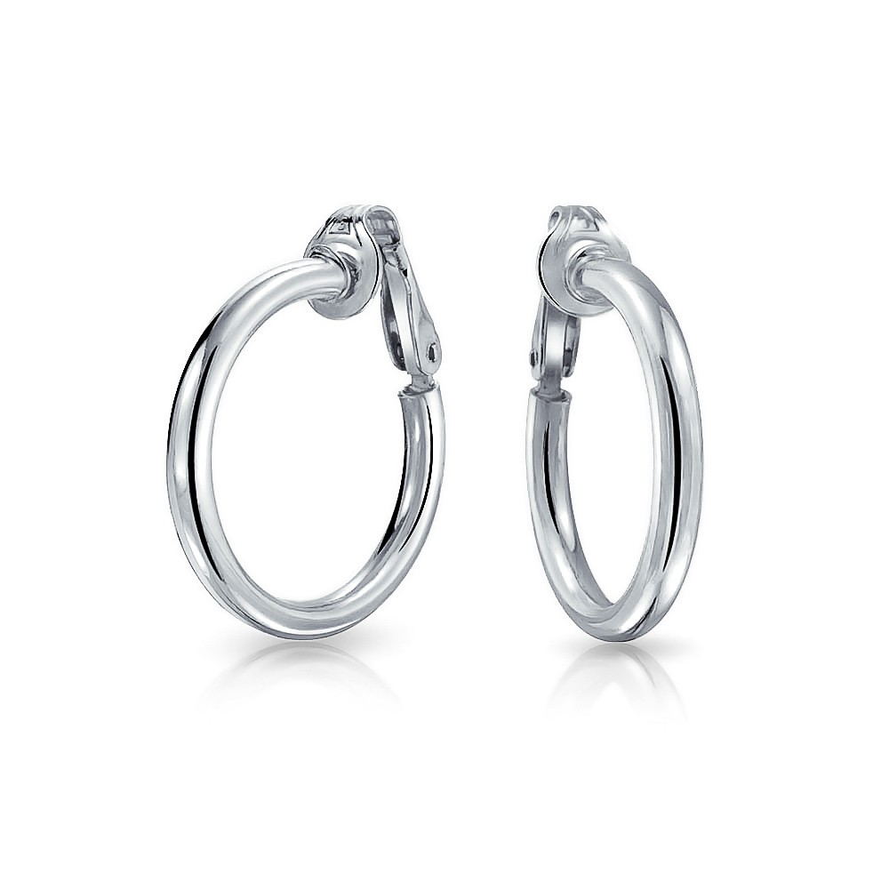 clip earrings bling jewelry 925 sterling silver classic clip on hoop earrings jqokuqb