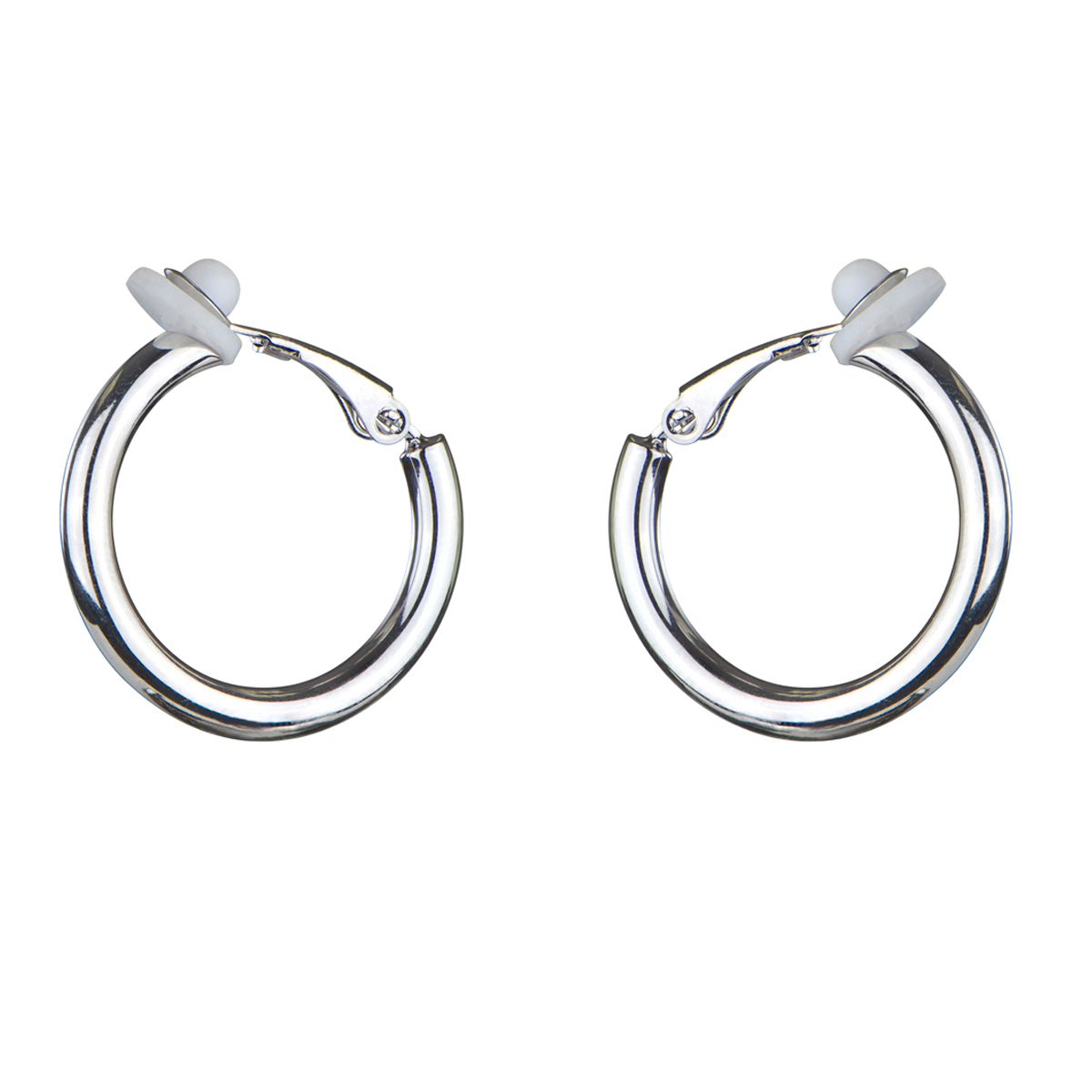 clip earrings charlineu0027s clip-on silvertone hoop earrings - 18mm yeicdwu