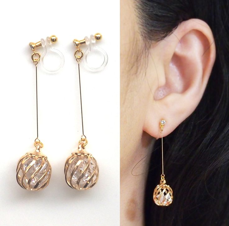 Clip Earrings Crystal In Gold Cage Invisible On Dangle