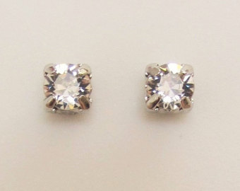 clip earrings magnetic earrings crystal stud style clip on swarovski crystal clear 6mm  stone non-pierced earrings bqnofkp