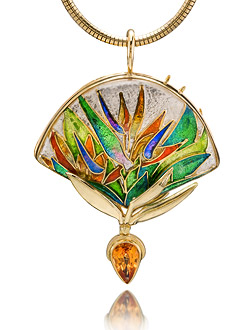 cloisonne enamel jewelry - current jewels gallery - bird of paradise  necklace vohpjyi
