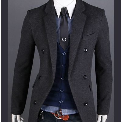 coats for men details about mens winter coat cashmere peacoat woolen double  pea coat qotkriw