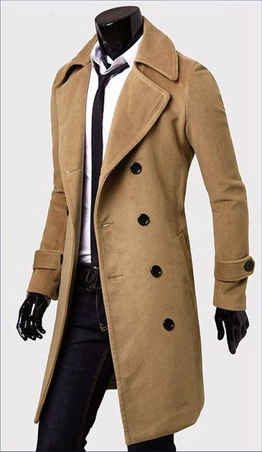 coats for men fashionable casual style long sleeves solid color slimming double breasted  coat for men found smkkzji