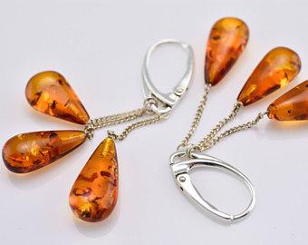 cognac amber earrings, cognac color earrings, amber silver earrings, baltic amber  earrings, EKGJGKJ