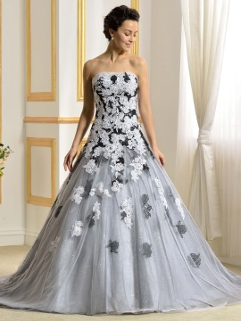 colorful wedding dresses floor length a-line strapless lace appliques color wedding dress exlnkkn