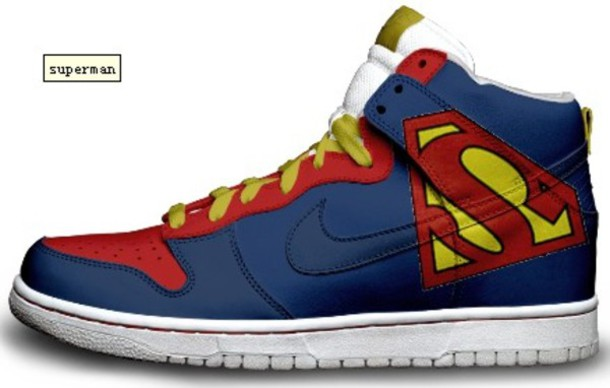 cool sneakers nike dunk superman shoes blue red yellow - cool sneaker ulzgpqx