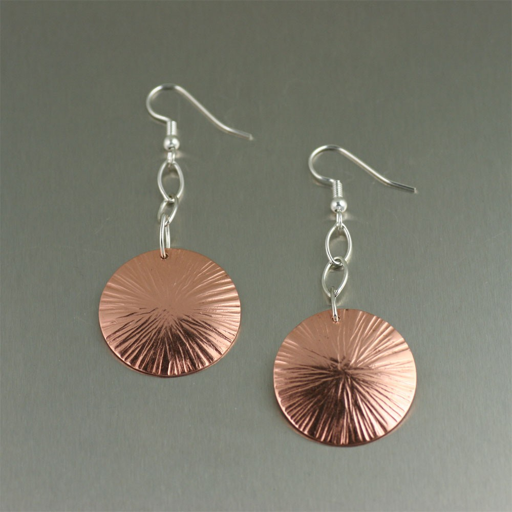 copper jewelry chased copper disc earrings knhzitp